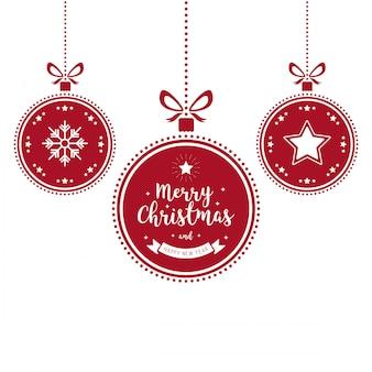 Kerst versiert rode snuisterijen geïsoleerde achtergrond