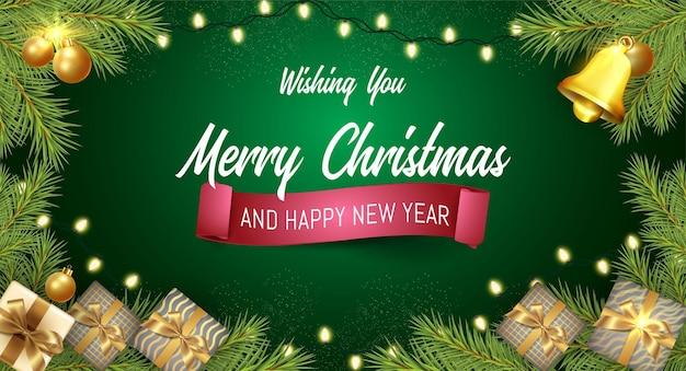 Kerst verticale banner met geschenken ontwerpsjabloon