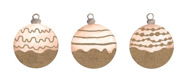 Kerst verzameling ballen voor een kerstboom. aquarel illustratie.