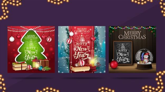 Kerst vierkante groet webbanners in verschillende stijlen. kerstboom, rood lint versierd met letters en houten muur met groet.