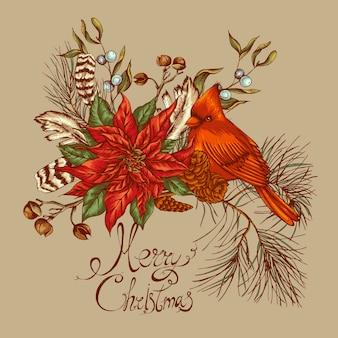 Kerst vintage floral wenskaart
