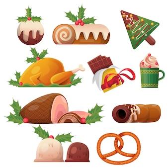 Kerst voedsel collectie vector
