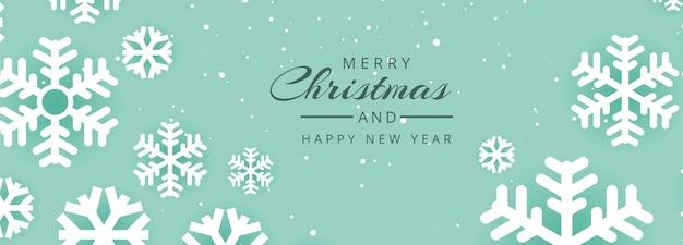 Kerst website banner met decoratiesneeuwvlokken