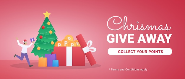Kerst weggeefbanner met cadeau illustratie en kleine mensen