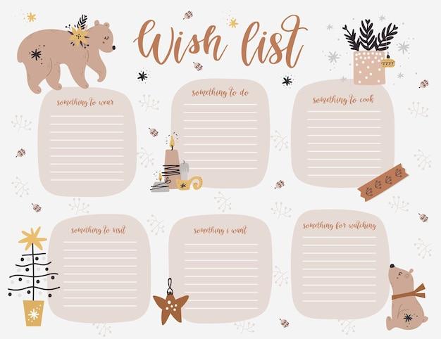Kerst wekelijkse planner paginasjabloon, verlanglijstje met schattige beren, twijgen in cartoon-stijl