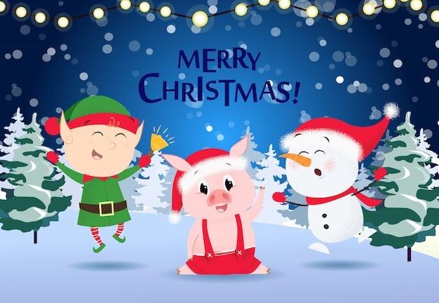 Kerst wenskaart. cartoon elf
