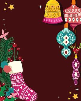 Kerst wenskaart decoratie sok ballen