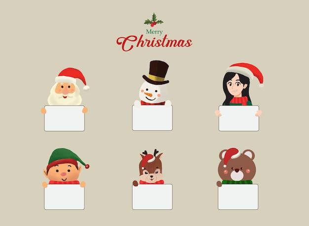 Kerst wenskaart illustraties hand getrokken