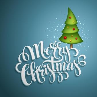 Kerst wenskaart. merry christmas belettering, vectorillustratie eps 10