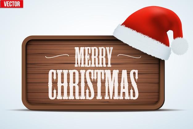 Kerst wenskaart. merry christmas-tag op houten achtergrond. wintervakantie uitnodiging en wenskaart. bewerkbaar