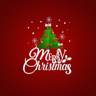 Kerst wenskaart met merry christmas belettering