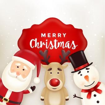 Kerst wenskaart met schattige santa, sneeuwpop en rendieren tekens