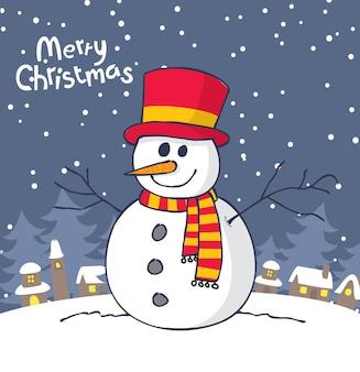 Kerst wenskaart met sneeuwpop
