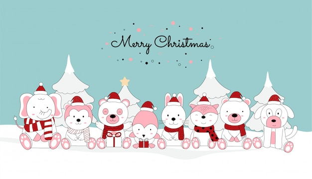 Kerst wenskaart ontwerp achtergrond met schattige baby dier en santa kostuum, kerstmuts.