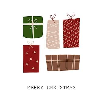 Kerst wenskaart ontwerp met cadeautjes. vector illustratie.