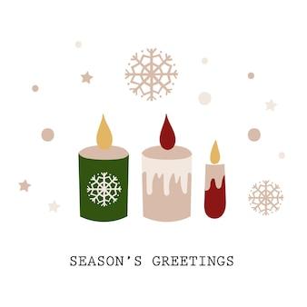Kerst wenskaart ontwerp met kaarsen. vector illustratie.