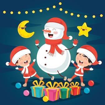 Kerst wenskaart ontwerpen met stripfiguren