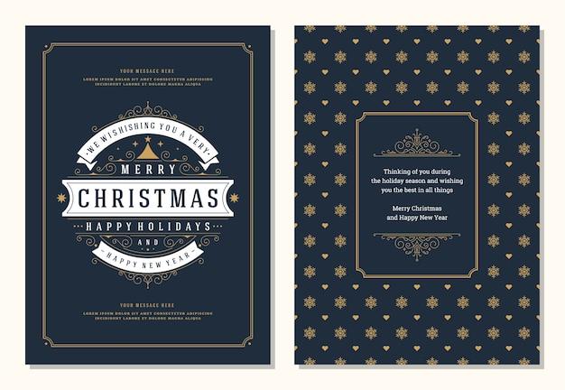 Kerst wenskaart ontwerpsjabloon met decoratie label vectorillustratie
