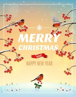 Kerst wenskaart, poster. goudvinkvogel op een achtergrond van een winterlandschap en een struik met bessen. illustratie. vrolijk kerstfeest en een gelukkig nieuwjaar