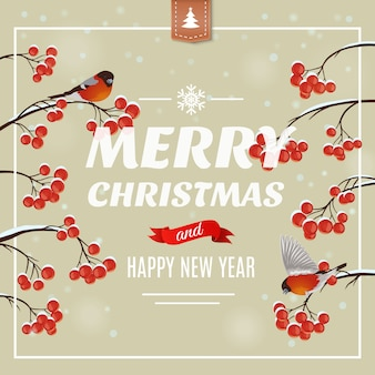 Kerst wenskaart, poster. goudvinkvogel op een tak met bessen. illustratie. vrolijk kerstfeest en een gelukkig nieuwjaar