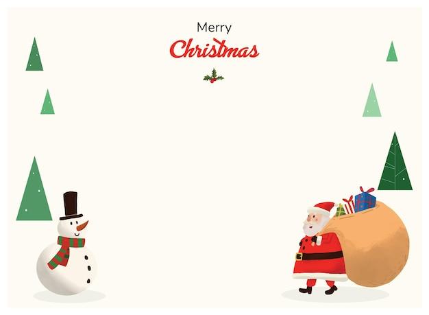 Kerst wenskaart santa claus hand getekende landschap 01