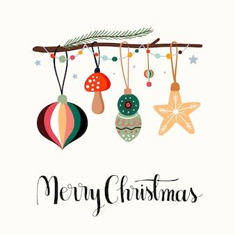 Kerst wenskaart uitnodiging poster met feestelijke, seizoensgebonden elementen, kerstversiering en hand belettering