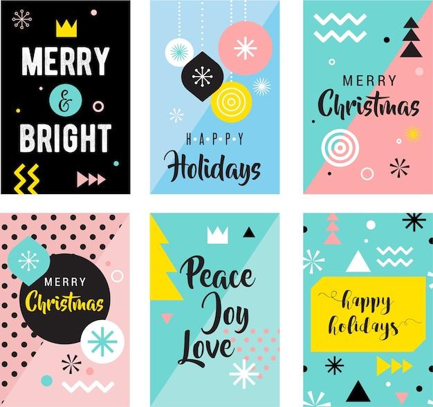 Kerst wenskaartenset. fijne vakantie. vrolijk kerstfeest