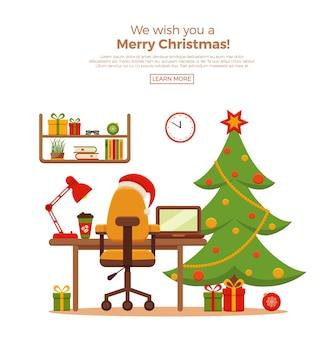 Kerst werkplek interieur vlakke stijl illustratie