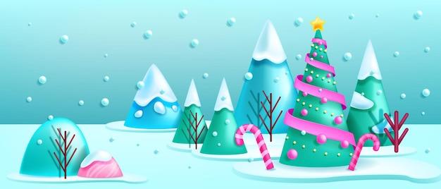 Kerst winter 3d landschap bos achtergrond vector vakantie xmas scène versierd dennenboom