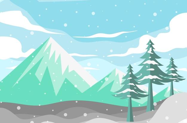 Kerst winter achtergrond met bomen en bergen