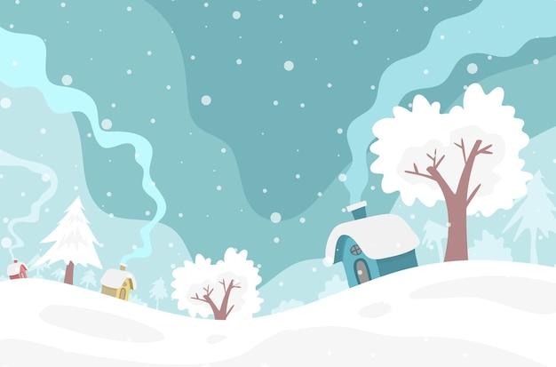 Kerst winter achtergrond met bomen en huis Premium Vector