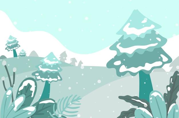 Kerst winter achtergrond met bomen