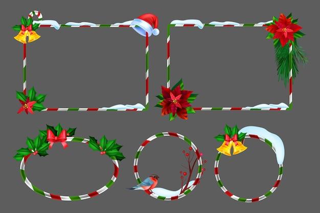Kerst winter frame set vector vakantie xmas grens kit nieuwjaar feestelijke foto ontwerpelement