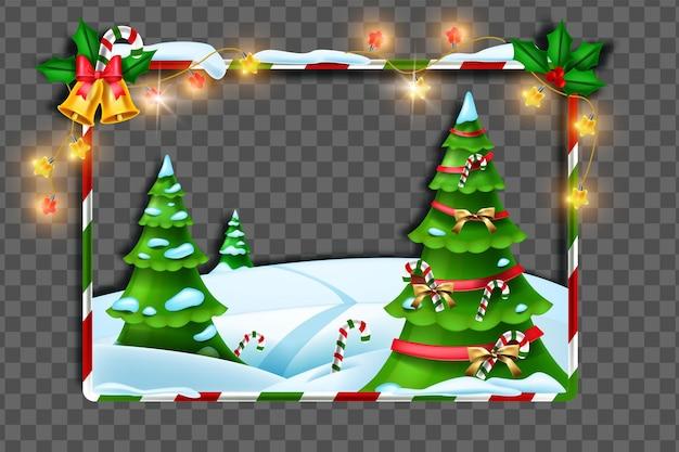 Kerst winter frame vector vakantie xmas grens decoratie feestelijke dennenboom sneeuw drift lichten