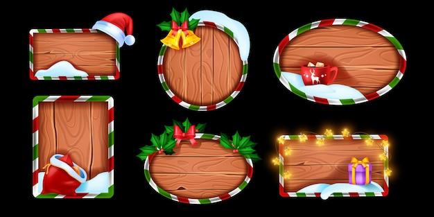 Kerst winter houten bord set vector rustieke vakantie frame kit sneeuwjacht nieuwjaar decor