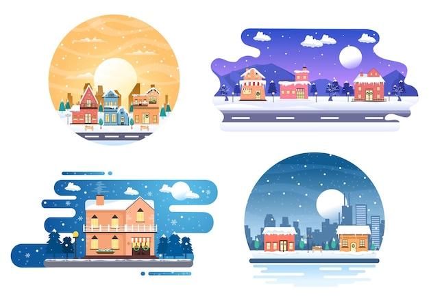 Kerst winter huizen achtergrond vector