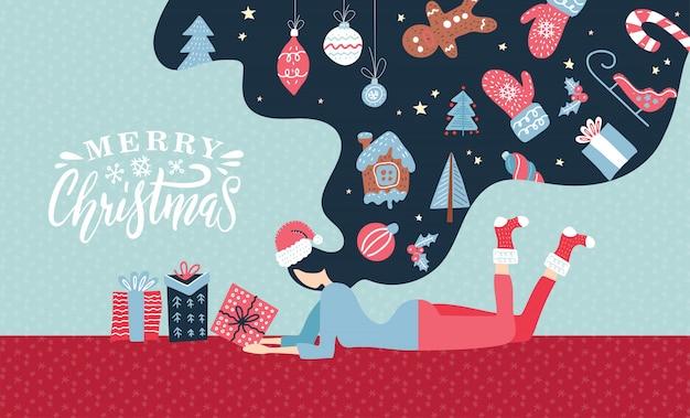 Kerst winter illustratie met schattige jonge vrouw met lang haar