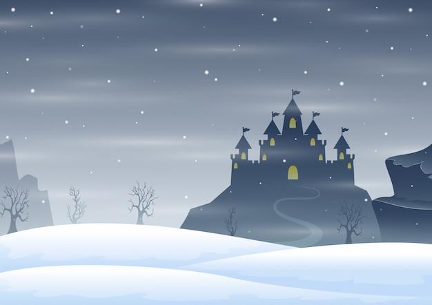 Kerst winter kasteel silhouet op de heuvel