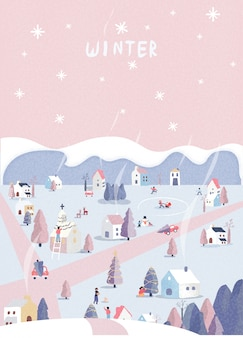 Kerst winter landschap ansichtkaart. retro pastel roze kleurtoon. wonderland kleurrijk dorp met hut, sneeuwpop en herten. mensen gelukkig