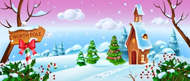 Kerst winter landschap vector vakantie xmas bos achtergrond santa claus cartoon huis