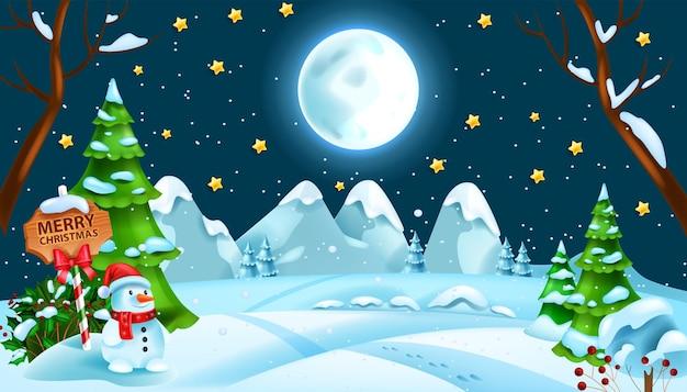 Kerst winter nacht sneeuw landschap xmas bos sneeuwjacht vector achtergrond volle maan sterren
