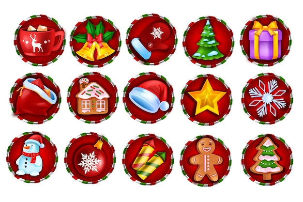 Kerst winter spel slot pictogram vector casino vakantie badge set web ui xmas design element kit