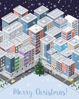 Kerst winter stad achtergrond