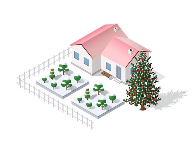 Kerst winter stad grafische vakantie
