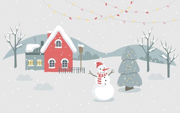 Kerst winter stad illustratie. feestelijk karakter en vakantiedecoratie. kerstboom met traditionele decoratie, lichten en sneeuwpop. kerstkaart decoratie