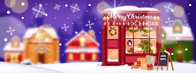 Kerst winter stad verkoop banner met vakantie winkel showcase, straat, sneeuwvlokken, bokeh huizen