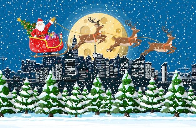 Kerst winter stadsgezicht illustratie