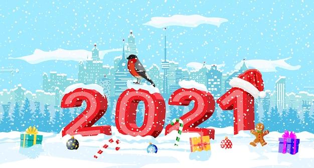 Kerst winter stadsgezicht