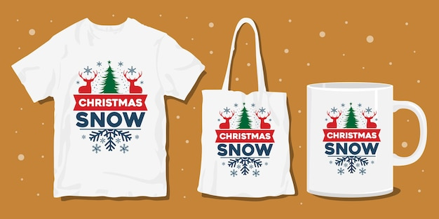 Kerst winter typografie t-shirt merchandise design