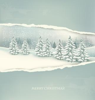 Kerst winterlandschap achtergrond.